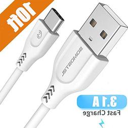 USB Type C Cable 10FT, SOMOSTEL USB A to C Fast Charger 3.1A