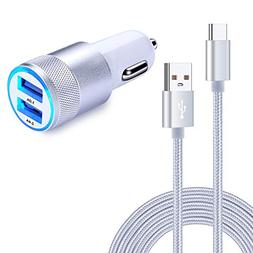 USB Type C Car Charger, Kakaly Dual Quick 3.0 Car Charger wi