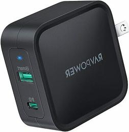 USB C Charger, RAVPower 65W PD Charger  Dual Port Wall Charg