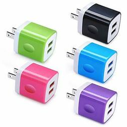 USB Charger Block, Ououdee 5Pack 2.1A Quick Dual Port Plug