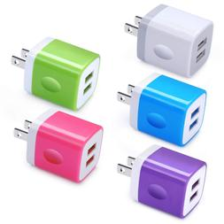 USB Charger Block, Ououdee 5Pack  2.1A Quick Dual Port Wall