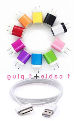 USB Charger Cable +Color Wall Plug Charger for For iPhone 4