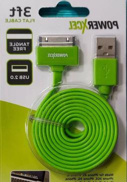 30 Pin to USB 3ft Flat Tangle Free Data Sync and Charge Cabl