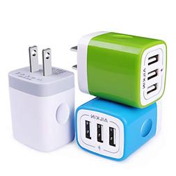 USB Plug in Wall Charger, Charging Block, 3Pack Ailkin 3.1A