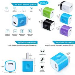 USB Wall Adapter, Charger Cubes, 5Pack 1A White,Blue,Green,P
