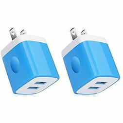 USB Wall Charger, 3-Pack 2.1A/5V Dual Port Plug Power Adapte