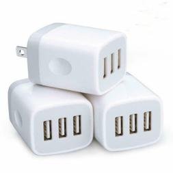 USB Wall Charger,3 Pack Sicodo 3-Multiple Port USB Travel Wa