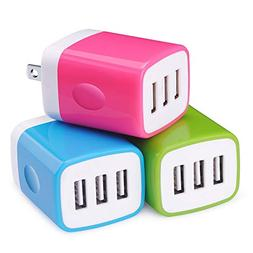 USB Wall Charger,Sicodo 3-Pack Universal 3.1A Muti Port Char