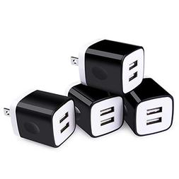 USB Wall Charger,Sicodo 4-Pack Universal 2.1A Dual Port Home