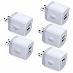 USB Wall Charger, Charging Block, Ououdee 5Pack 2.1A Quick D
