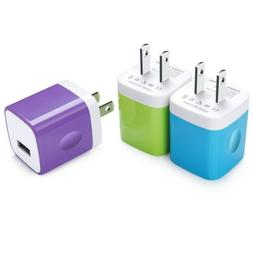 USB Wall Charger, Kakaly 3-Pack Universal Home Travel USB 1