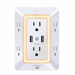 USB Wall Charger Surge Protector POWRUI 6-Outlet Extender wi