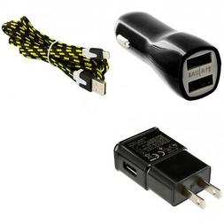 Wall & Car Charger Adapter 10FT USB Charging Data Cable for