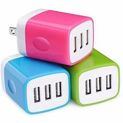 Wall Chargers Adapter,Sicodo 3-Pack Universal 3.1A USB Mutip
