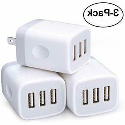 Wall Chargers Charger,3 Pack Sicodo 3-Muti Port USB Travel 5