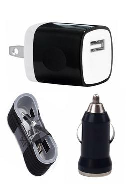 Wall Charging Charger Adapter 4FT USB Data Cable Car Charger