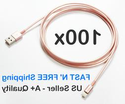 Wholesale Lot 100 x 6ft Rose Gold iPhone charger Lightning C