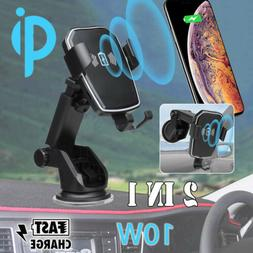 Wireless Fast Charger Dock Car Holder Mount For iPhone X XS